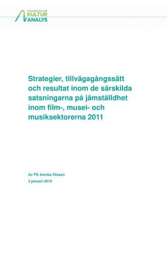 Omslagsbild Jämställdhetssatsningar inom film, musei- och musiksektorerna