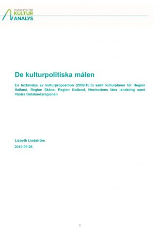Omslagsbild De kulturpolitiska målen 2012